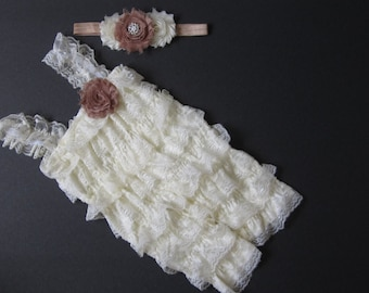 Baby lace Romper set with matching headband