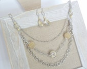 SALE! Yellow Crystal and Beaded Silver Chain Necklace | Necklace and Earring Set | Mixed Media