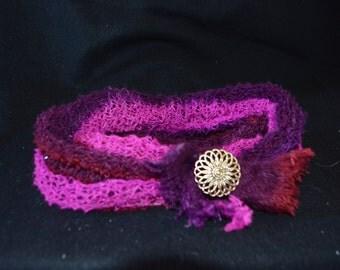 Fantasy in Burgandy n Pink cowl choker necklace