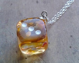Transparent Orange, Yellow, Clear Swirl Mini D6 Dice Pendant on Sterling Silver Chain