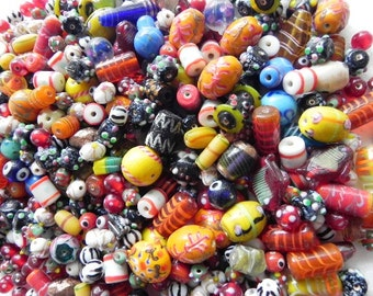 2 Pound vintage style supper delux handmade multy mix colour LAMPWORK glass beads mix TWO POUND.
