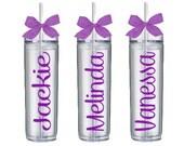 Personalized Tumblers, Monogrammed Tumbler Set of 7, Bridesmaid Gift, Bachelorette Party, BPA Free, Bridesmaid Glass, Skinny Tumbler