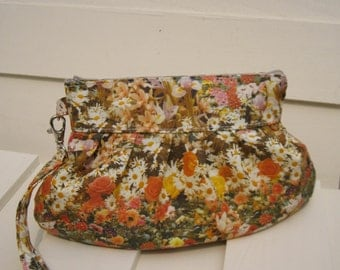 BRIDESMAID CLUTCH, Janbag wristlet, flowers,cotton,-- Flora orange