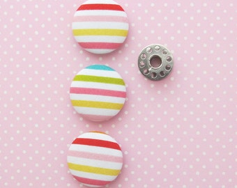 Fabric Buttons 1.25 Inch | 32mm Rainbow Stripe Fabric Covered Buttons | Fabric Covered Shank Buttons