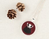 Embroidered Badger Wool Felt Necklace - Animal Portrait - Circle Pendant - Woodland Jewelry - Burgundy Red - Silver Plated