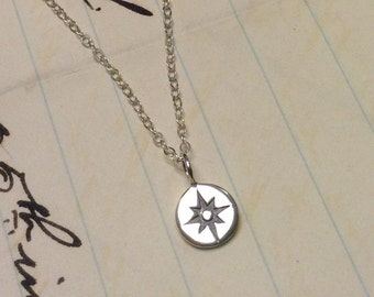 Tiny Compass Sterling Silver Charm Necklace Nautical Pendant Jewelry