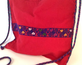 Vintage Bright Red Bag - Royal Blue Embroidery Stripe Guatemalan Spiral Long Braided Strap Shoulder Bag Crossbody Bag - Purple Green Yellow