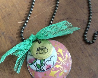 SALE- REDUCED The very happy camper necklace