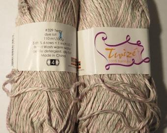 2 skeins Yarn Bamboo Twize SWTC #329 Twey pink grey