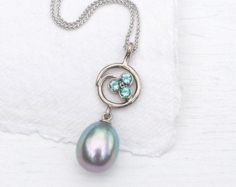 Pearl and Tourmaline Swirl Pendant in 18k White Gold, Eco Friendly, Handmade in the UK