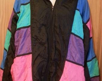 Vintage 80s Colorblock Windsuit Jacket size Large
