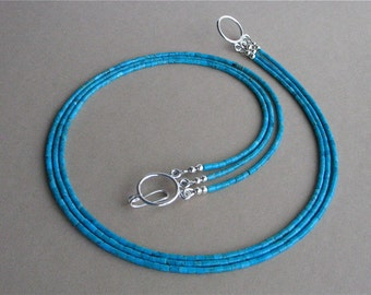 Blue Kingman Turquoise Heishi 3 Strand Necklace - Classic Southwest Turquoise Multistrand Necklace - Small 2mm Heishi, Sterling Silver Clasp