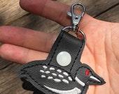Loon keyring - black duck keyring - clip on backpack dangle - bagcharm - duck charm zipper pull -accessory by babymoon