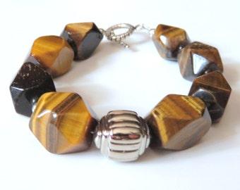 Chunky Tiger Eye Beaded Bracelet, Brown Gemstone Bracelet with Sterling Silver Toggle Clasp, Tiger Eye Silver Southwestern Tribal Jewelry