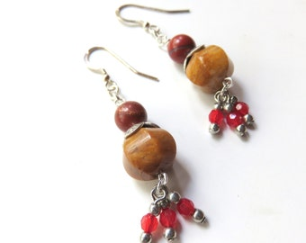 Southwestern Jasper Dangle Earrings, Mustard and Brown, Long Jasper and Silver Drop Earrings, Brown Tones, Boho Jewelry, Tribal Earrings
