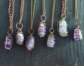 Wire Wrapped Amethyst Necklace / Crystal / Gift