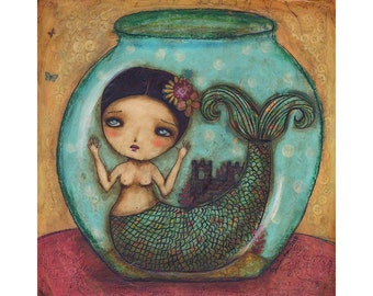 Mermaid in a bowl - Giclee print reproduction of an original mixed media painting by Danita Art
