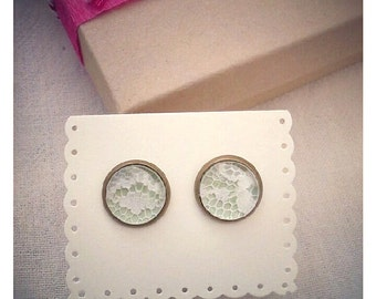 Pale Green and Ivory Lace stud earrings for bridesmaids, gifts, holidays