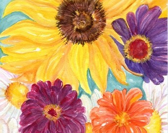 Original flowers watercolor painting, original watercolor, flowers watercolor, flowers painting, flower art, original watercolor floral