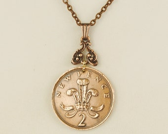 British Coin Necklace 1980 Two New Pence