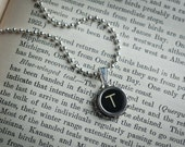 Vintage TYPEWRITER Key NECKLACE Initial Letter T Black or Light Symbol You Choose Retro Fun