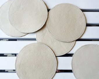 CLEARANCE Reversible Leather Coasters - Gold & Cream