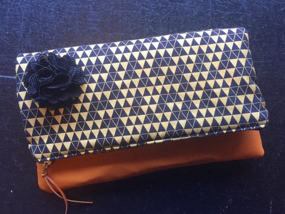 Black and Gold Leather Clutch, Fold-Over Clutch Purse, Evening Bag, Women's Clutch Purse, Zippered Clutch