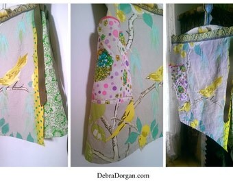 Yellow Bird Wrap Skirt, Birds, Yellow, Green, Floral, Patchwork Clothing, Rustic, Boho
