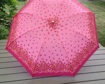 Vintage Pink Floral Umbrella New Old Stock Deadstock Vintage Accessories Rain Accessories Womens Umbrella Pink Red Flower Power Hippie Boho
