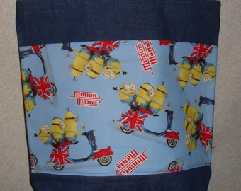 New Large Denim Tote Bag Handmade with Minions London Scooter Fabric