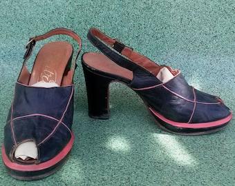 Vintage 1970s Shoes Peep Toe Platform 1940s Style US6