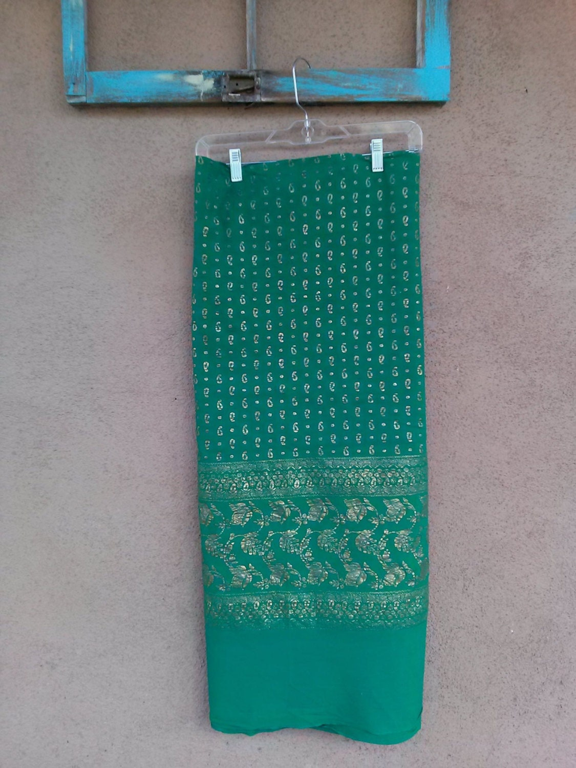 Vintage 1960s Cotton Fabric Gold Indian Block Print Emerald