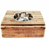Elevated Vintage Wood Crate Dog Feeder.  No. 2.