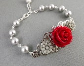 Dark Red and Gray Silver Filigree Flower Bracelet
