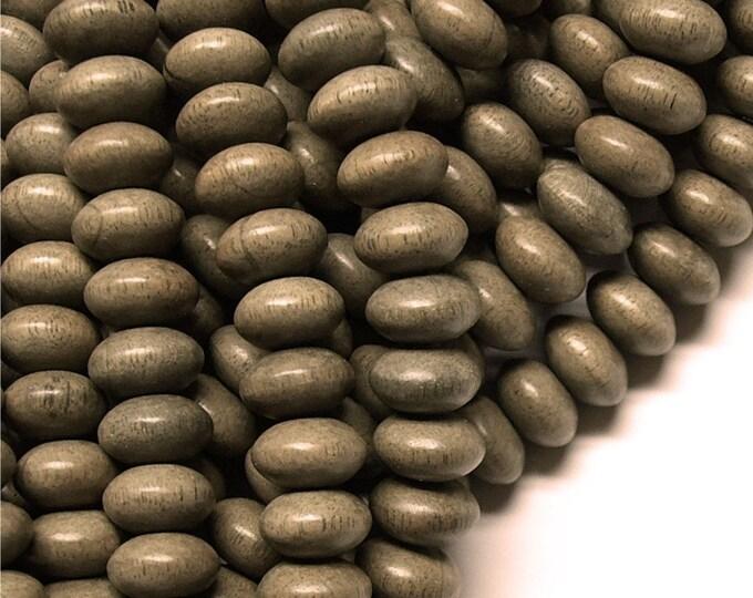 WDRN-10GR - (Three) Wood Bead, Rondelle 6x10mm, Graywood - 16 Inch Strands