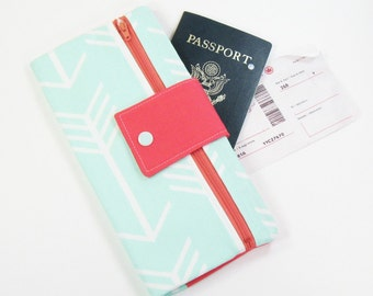 Travel Wallet / Travel Passport Holder / Passport Wallet / Passport Case / Passport Cover - Mint Arrow