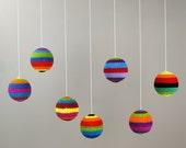 Crochet balls, colourful, set of 6, party decor, crochet home decor, shop decor, christmas ornaments
