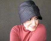 Women's wool cloche, ladies spring hat, handmade cloche, sewn fabric hat, striped cloche, versatile fashion : City Limits in chocolate brown