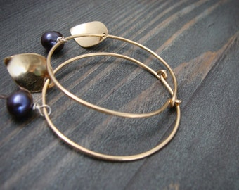berry hoops ... raven wing pearl and 14k gold fill