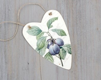 Decoupaged Heart Gift Tag, Fruit Art Ornament, Vintage Illustration