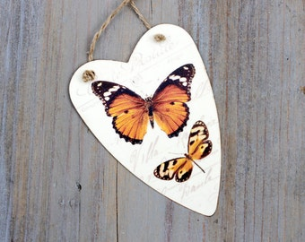 Decoupaged Butterflies Ornament, Tin Heart Tag
