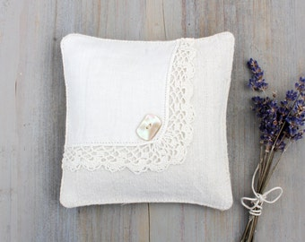 Vintage Ivory Linen Lavender Sachet with Handkerchief Overlay, Cottage Decor