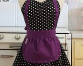 Apron French Maid Polka Dot with Purple Double Circle Skirt