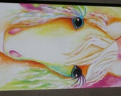 """Horse Abstract Original painting Animal pet Art  24"""" X 12""""  colorful"""