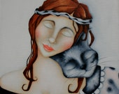 Woman Cat Print on wood  Pet portrait artwork, gift for her, Valentine's love
