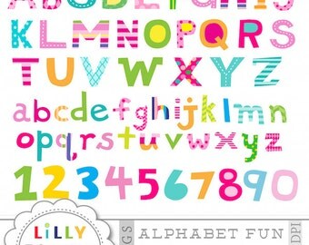 ALPHABET FUN hand drawn letters and numbers in bright colors, word art, font, Instant Download commercial use