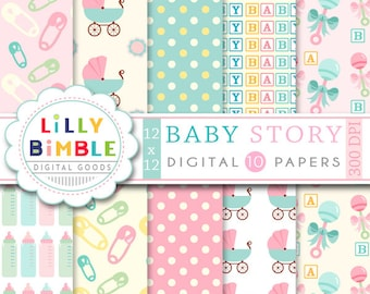 60% off Baby Digital scrapbook papers for cards, invites, INSTANT DOWNLOAD Baby Story digital papers
