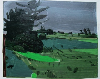 Rain on Lost Dog Hill, Original July Collage Painting on Paper, Stooshinoff