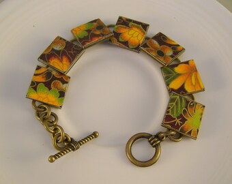 Take the Fall - Vintage Fall Leaves Orange and Brown Hand Cut Tins Recycled Repurposed Jewelry Bracelet - Ten Year Anniversary Gift