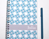 2016 2017 Monthly Planner Notebook, Personalized Calendar Notebook, Any start month, Quilter Gift Idea, Custom Notebook, SKU: pn aqua quilt